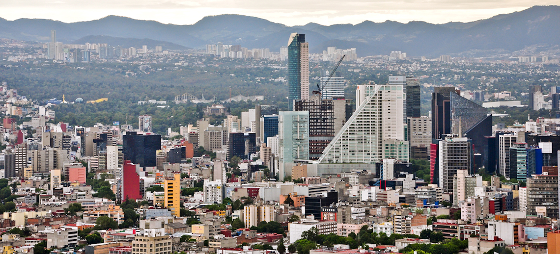 Buildings on the skyline in Mexico City