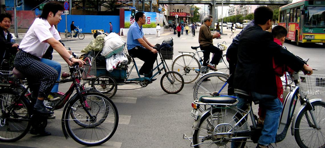 Bikes crossing in Beijing, China