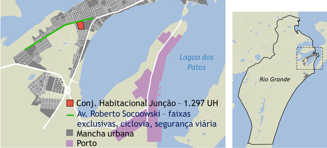 The gray marks Rio Grande's urban areas, and the red is the area of the Junção Project.